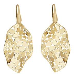"""14kt Yellow Gold Over Silver """"mosaic Leaf"""" Dangle Earrings"""