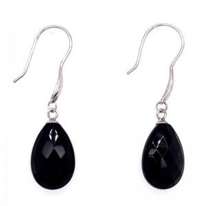 "Peter Storm ""Tessuto Colori"" Black Agate Briollet Drop Earrings"