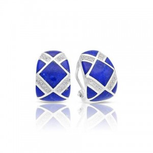 """Belle Etoile Sterling Silver And Lapis Inlay """"Echelon"""" Earrings"""