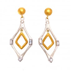 """Lika Behar Sterling Silver And 24kt Gold Fusion """"Deco"""" Earrings"""