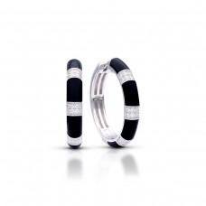 "Belle Etoile Sterling Silver And Black Enamel ""Barre"" Hoop Earrings"