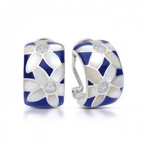 "Belle Etoile Sterling Silver And Enamel ""Moonflower"" Earrings"