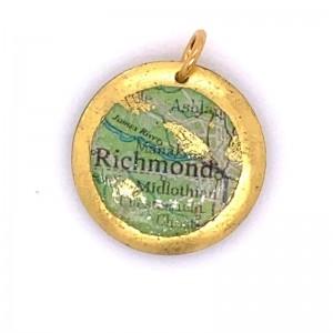 """Evocateur """"Richmond Map"""" 22kt Gold Leaf 1"""" Disc Charm"""