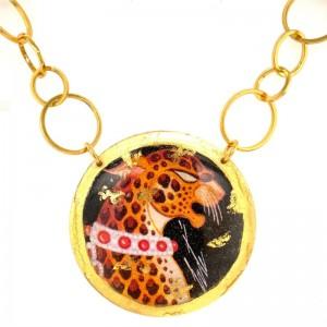 """Evocateur """"Erte Leopard"""" 22kt Gold Leaf 2 Inch Disc Necklace"""