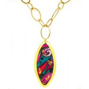 "Evocateur ""Alexis"" 22kt Gold Leaf Marquise-shaped Necklace"