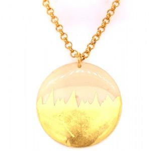 "Evocateur ""Skyline"" 22kt Yellow Gold Leaf Disc Pendant"