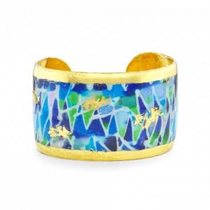 "Evocateur ""Fiesta Blue"" 22kt Gold Leaf 1-1/2"" Cuff Bracelet"