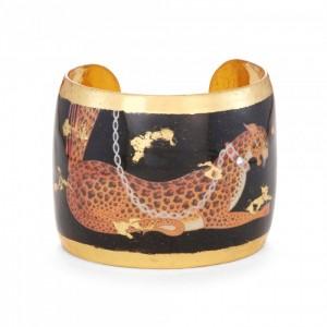 """Evocateur """"Erte Leopard"""" 22kt Gold Leaf 2""""cuff Bracelet"""