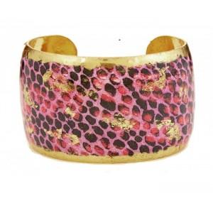 """Evocateur """"Pink Snakeskin"""" 22kt Gold Leaf 1-1/2"""" Cuff Bracelet"""