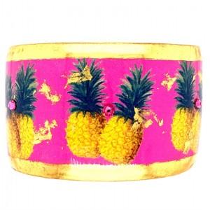 """Evocateur """"Pink Pineapple"""" 22kt Gold Leaf 1-1/2"""" Cuff Bracelet"""
