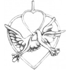 """Sterling Silver """"Two Turtle Doves""""  Holiday Ornament"""