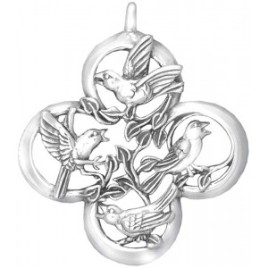 """Sterling Silver """"Four Calling Birds""""  Holiday Ornament"""