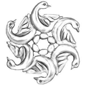 """Sterling Silver """"Six Geese A-Laying""""  Holiday Ornament"""
