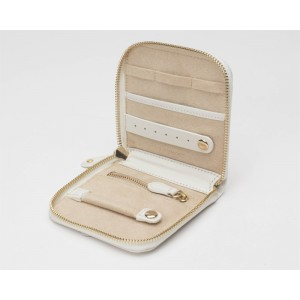 """WOLF """"Marrakesh"""" Cream Color Leather Zippered Square Travel Jewelry Case With Beaded Front"""