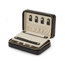 "WOLF ""Palermo"" Black Leather Zippered Rectangular Travel Jewelry Case"