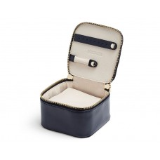 """WOLF """"Maria"""" Navy Leather Zippered Travel Jewelry Cube"""