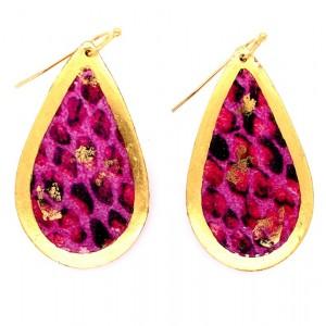 """Evocateur """"Pink Snakeskin"""" 22kt Gold Leaf Teadrop Dangle Earrings"""