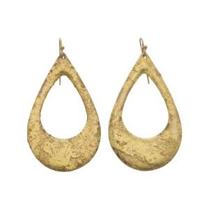 "Evocateur ""Athena"" 22kt Gold Leaf Teardrop Dangle Earrings"