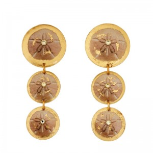 "Evocateur ""Sand Dollar"" 22kt Gold Leaf Triple Disc Dangle Earrings"