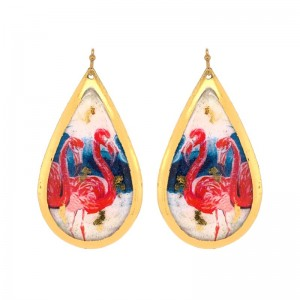 "Evocateur ""Pink Flamingo"" 22kt Gold Leaf Teadrop Dangle Earrings"