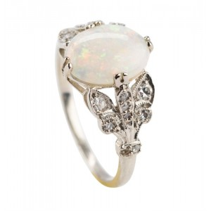 Edwardian Platinum Opal And Diamond Ring