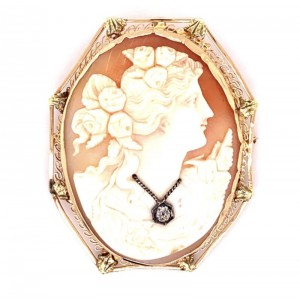 Estate 14kt Yellow Gold Late Victorian Cameo Pin/ Pendant