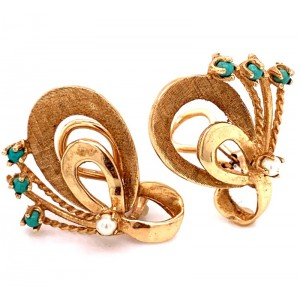 Estate 14kt Yellow Gold Turquoise And Pearl Clip Earrings