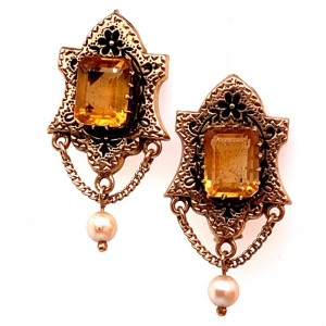Estate 14kt Yellow Gold Citrine And Pearl Earrings