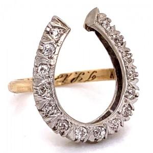 Estate 14kt Yellow Gold Diamond Horseshoe Ring