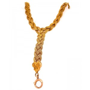 Estate 14kt Yellow Gold 'Etruscan Revival' Woven Y Necklace