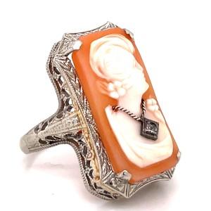 Estate 14kt White Gold Habille Cameo Ring