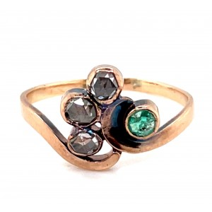 Estate 14kt Rosy Yellow Gold Emerald And Diamond Late Victorian Ring
