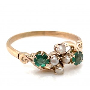 Estate 10kt Yellow Gold Green Doublet And Seed Pearl Ring