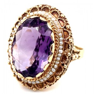 Estate 14kt Yellow Gold Amethyst And Seed Pearl Filigree Ring