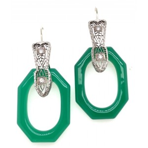 Estate 14kt White Gold Filigree Dyed Green Onyx And Diamond Dangle Earrings