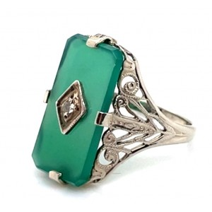 Estate 14kt White Gold Green Onyx And Diamond Ring
