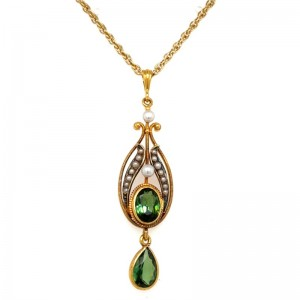 Estate 14kt Yellow Gold Tourmaline And Seed Pearl Lavalier